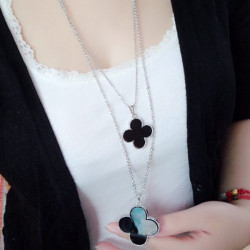 Four Leaf Clover Alloy Long Chain Necklace For Women