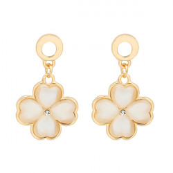 Four Leaf Clover Opal Dangle Earrings For Women 18K Gold Plated