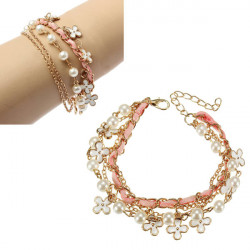 Four Leaf Pearl Pink Leather Rope Multilayer Bracelet Alloy Chain