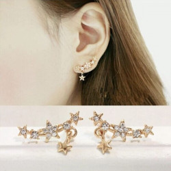 Full Rhinestone Little Stars Ear Stud Earrings For Women