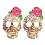 Full Rhinestone Skull Pink Rose Flower Stud Earrings For Women Women Jewelry