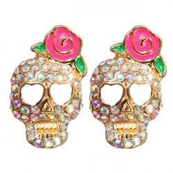 Full Rhinestone Skull Pink Rose Flower Stud Earrings For Women