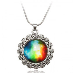 Galaxy Sky Nebula Space Glass Cabochon Silver Alloy Pendant Necklace