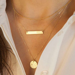 Gold 3 Layers Bar Rounded Sequin Geometry Charms Alloy Chain Necklace