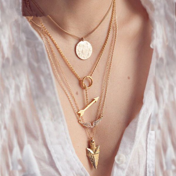 Gold 4 Layers Angel Wing Arrows Triangle Pendant Charm Necklace Women Jewelry