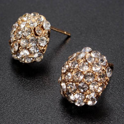 Gold Full Rhinestone Crystal Alloy Stud Earrings For Women