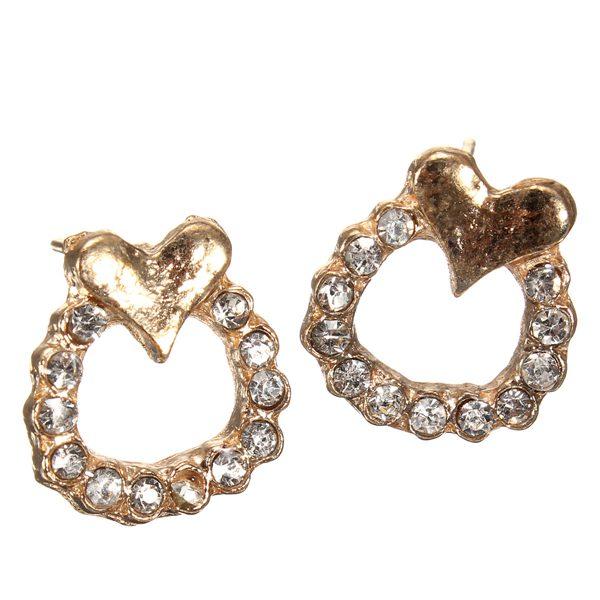 Gold Full Rhinestone Round Circle Heart Stud Earrings For Women Women Jewelry