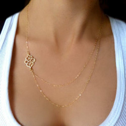 Gold Hollow Flower Double Charm Chain Necklace For Women