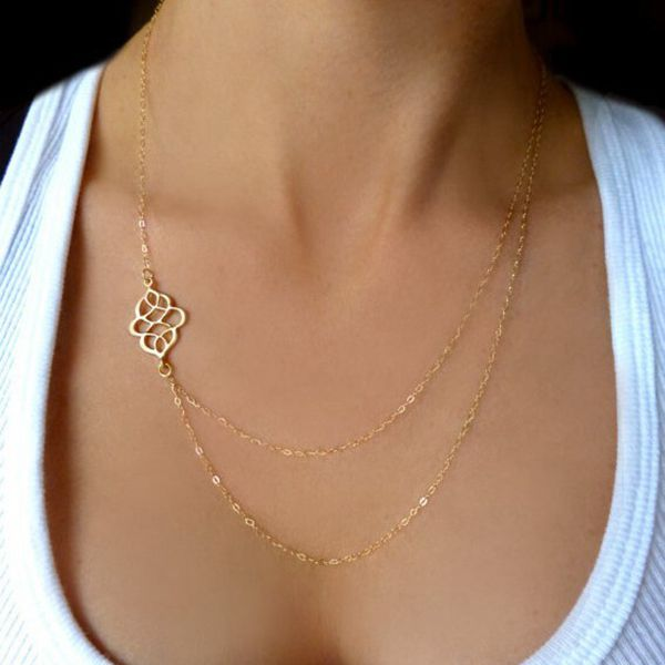 Gold Hollow Flower Double Charm Chain Necklace For Women Women Jewelry