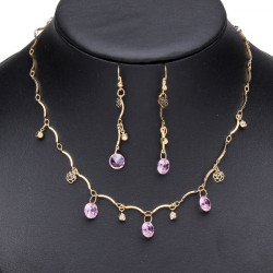 Gold Pink Flower Crystal Long Chain Necklace Earrings Jewelry Set