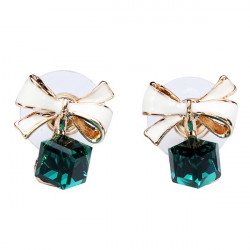 Gold Plated Bowknot Crystal Clear Square Ear Stud Earrings