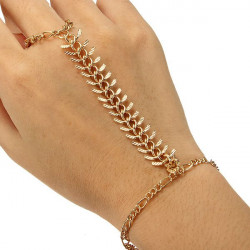 Gold Plated Centipede Bracelet Finger Ring Metal Chain Bracelet