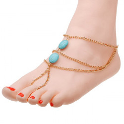 Gold Plated Chain Turquoise Bead Anklet Sandal Foot Anklet