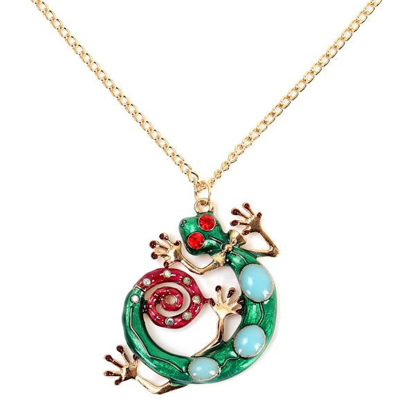 Gold Plated Crystal Beads Lizard Long Chain Pendant Necklace Women Jewelry
