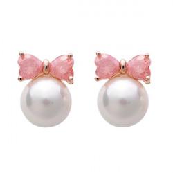 Gold Plated Crystal Bowknot Pearl Ear Stud Earrings Women Jewelry
