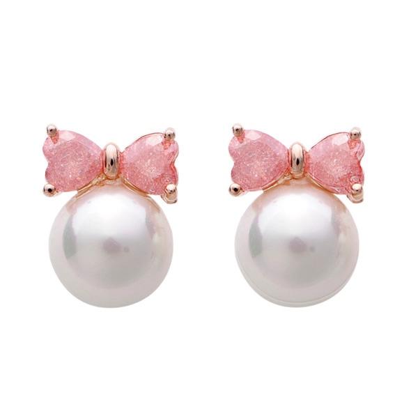 Gold Plated Crystal Bowknot Pearl Ear Stud Earrings Women Jewelry Women Jewelry