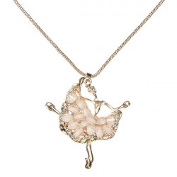 Gold Plated Crystal Rhinestone Ballet Dancer Pendant Chain Necklace