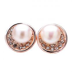 Gold Plated Crystal Rhinestone Pearl Ear Stud Earrings For Women
