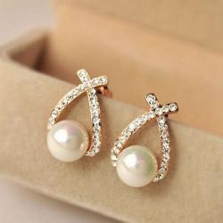 Gold Plated Crystal Rhinestone Pearl Stud Earring Women Jewelry
