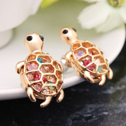 Gold Plated Cute Little Turtle Crystal Stud Earrings For Women