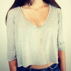 Gold Plated Fish Bone Body Chain Jewelry For Women