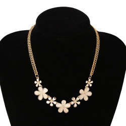 Gold Plated Flowers Opal Crystal Pendant Clavicle Necklace