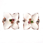 Gold Plated Four Leaf Clover Crystal Ear Clip Stud Earrings For Women Women Jewelry