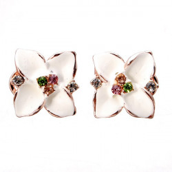 Gold Plated Four Leaf Clover Crystal Ear Clip Stud Earrings For Women