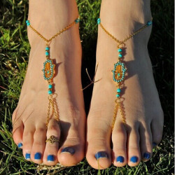 Gold Plated Hamsa Fatima Hand Turquoise Bead Toe Ring Anklet