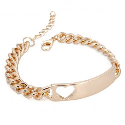 Gold Plated Hollow Heart Tag Bracelet Chunky Metal Chain Bracelet