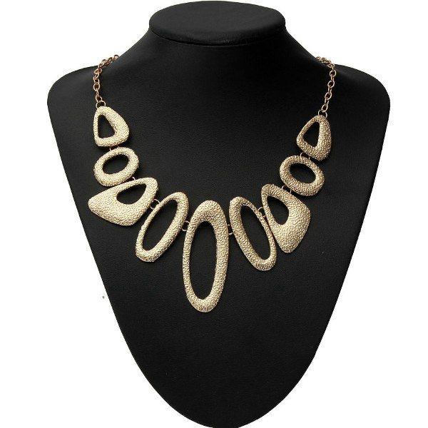Gold Plated Hollow Metal Geometric Bib Statement Necklace For Women Women Jewelry