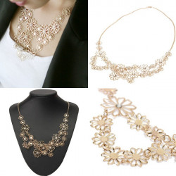Gold Plated Hollow Out Crystal Camellia Flower Choker Pendant Necklace