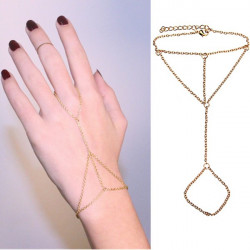 Gold Plated Interweave Chain Link Finger Ring Bracelet For Women