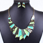 Gold Plated Irregular Pendant Necklace Earrings Jewelry Set Women Jewelry
