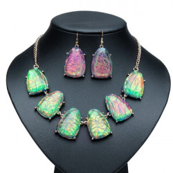 Gold Plated Irregular Resin Pendant Necklace Earrings Jewelry Set