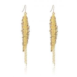 Gold Plated Leaf Rhinestone Long Tassel Chain Earrings Ear Drop