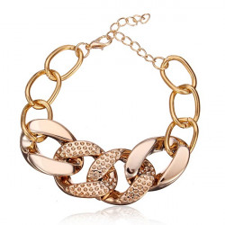 Gold Plated Light Weight Thick Chain Chunky Bracelet For Women