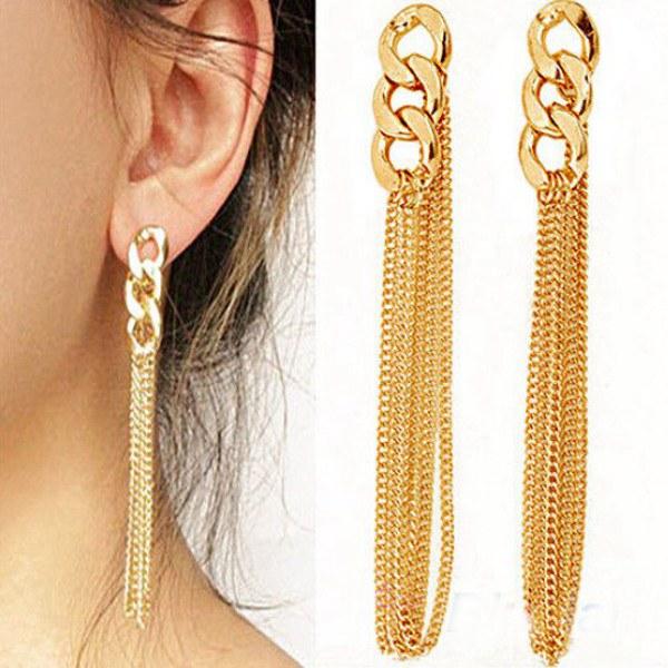 Gold Plated Long Tassel Ear Drop Alloy Hook Earrings For Women Women Jewelry