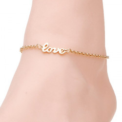 Gold Plated Love Letter Charm Anklet Bracelet Metal Chain For Women