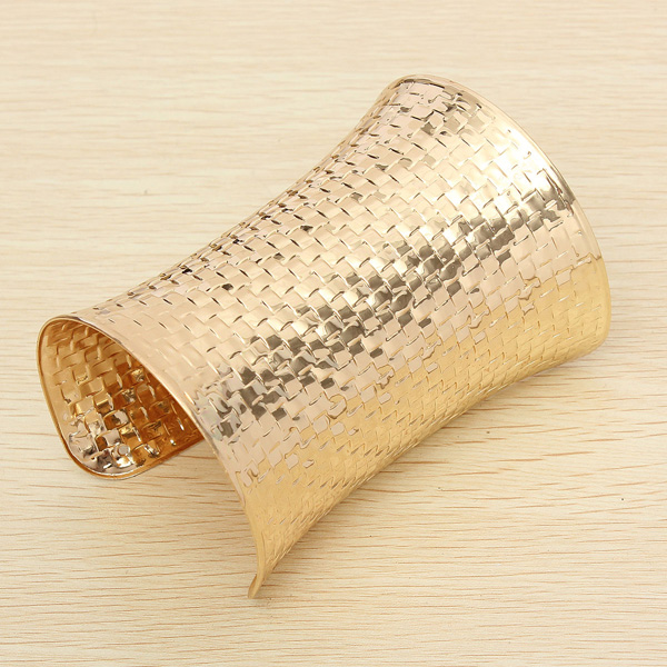 Gold Plated Metal Wide Opened Cuff Bracelet Bangle For Women Women Jewelry