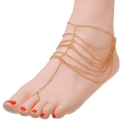 Gold Plated Multilayer Anklet Tassel Ring Chain Anklet Women Jewelry