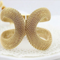 Gold Plated Net Web Bangle Mesh Metal Cuff Bracelet For Women