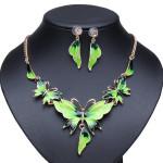 Gold Plated Oil Drop Butterfly Crystal Necklace Earrings Jewelry Set Women Jewelry