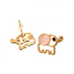 Gold Plated Opal Rhinestone Elephant Ear Stud Earrings Women Jewelry