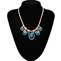 Gold Plated Oval Gem Crystal Rhinestone Short Necklace Pendant Chain