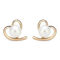 Gold Plated Peach Heart Pearl Stud Earrings Women Jewelry