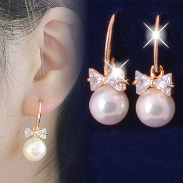Gold Plated Pearl Crystal Bowknot Drop Earrings For Women Women Jewelry
