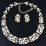 Gold Plated Pearl Crystal Necklace Earrings Wedding Jewelry Set Women Jewelry