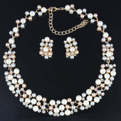 Gold Plated Pearl Crystal Necklace Earrings Wedding Jewelry Set