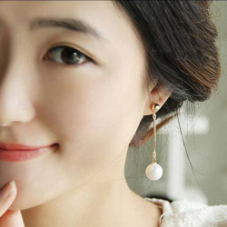 Gold Plated Pearl Long Tassel Drop Earrings Women Jewelry